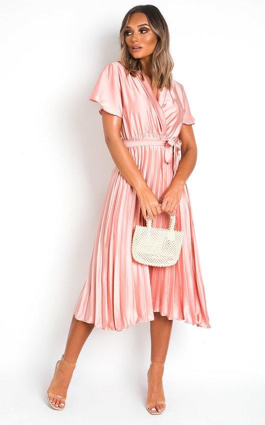 Ingrid Satin Pleat Midi Dress