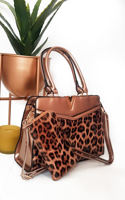 Iris Leopard Print Patent Handbag