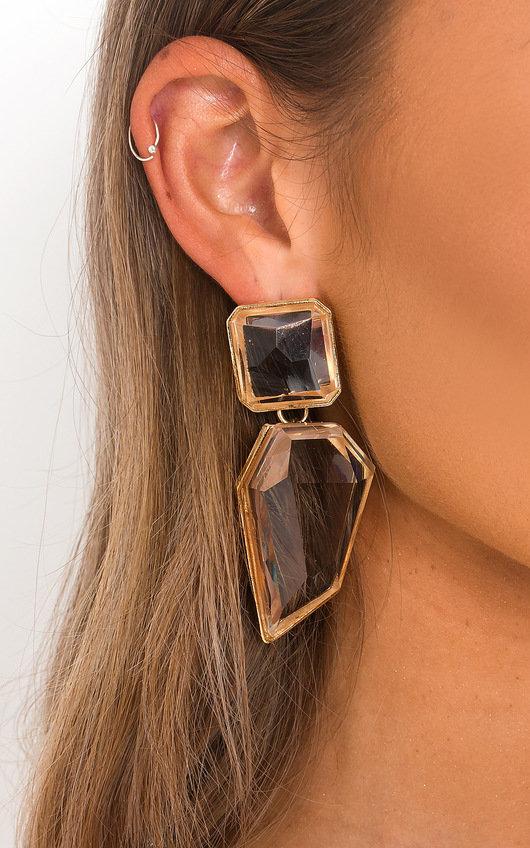 Iris Statement Geometric Crystal Drop Earrings