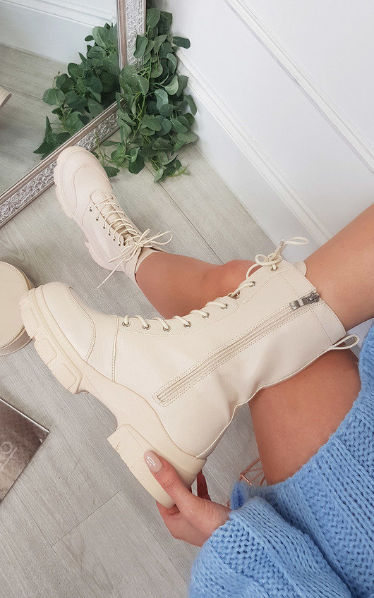 Isabella Chunky Lace Up Platform Boots