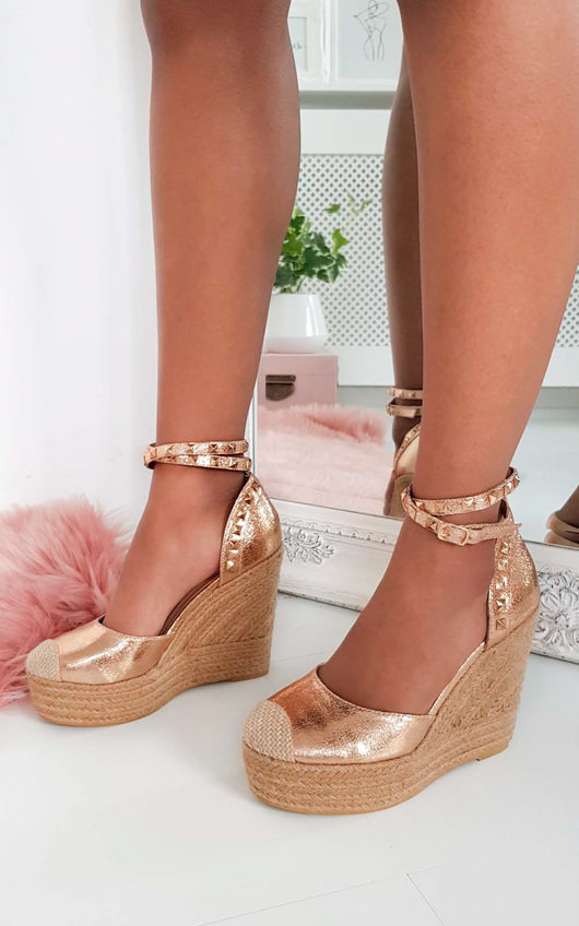 Isabella Studded Espadrille Wedged Heels