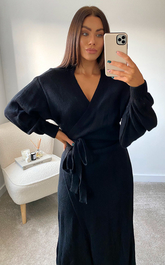 Isla Knitted Wrap Maxi Dress