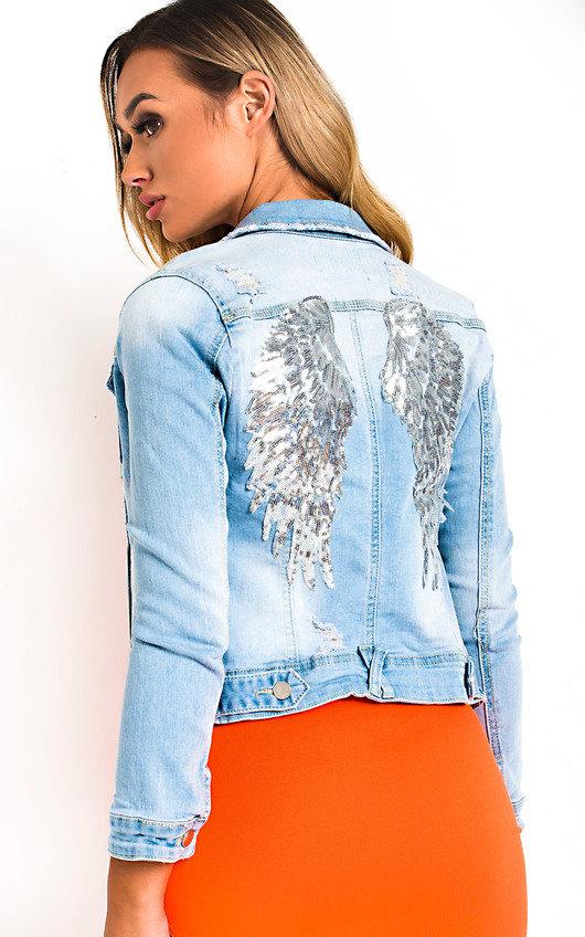 Ivy Embellished Distressed Denim Jacket
