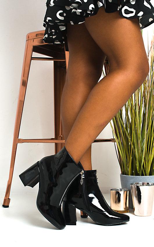 Ivy Zip Block Heel Ankle Boots