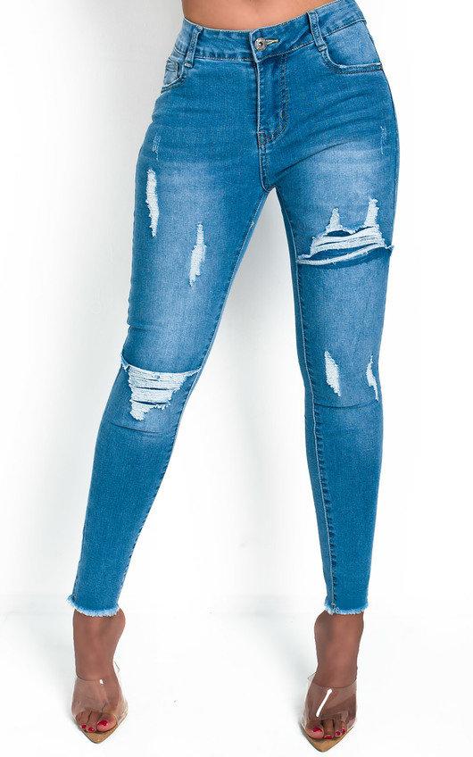 Izzi Distressed Frayed Skinny Jeans