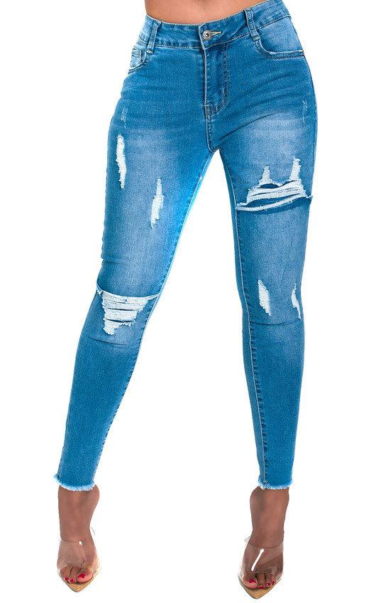 85456a682431 Izzi Distressed Frayed Skinny Jeans in Denim