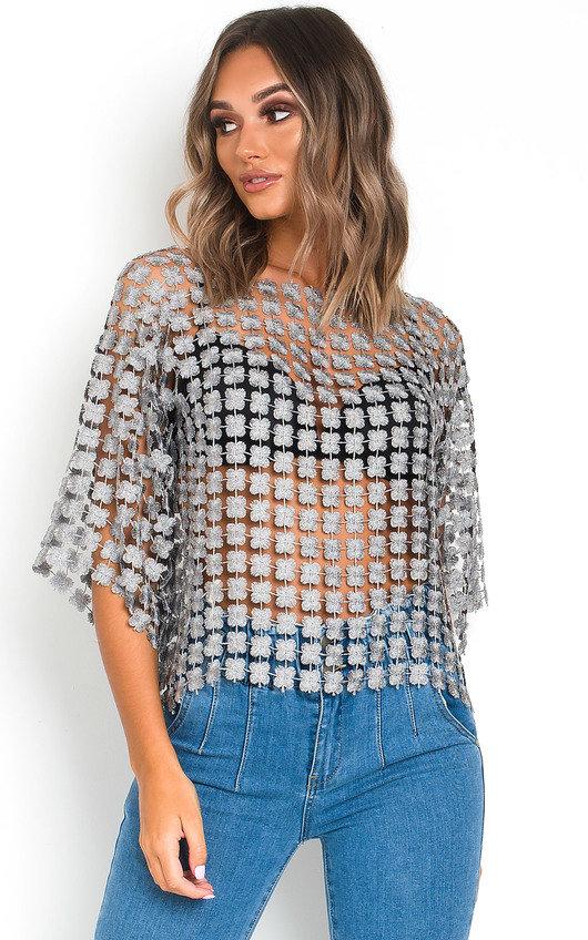 Izzie Floral Shimmer Crochet Top