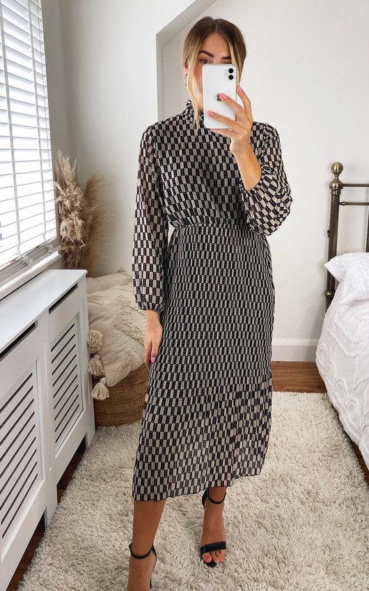 Izzie High Neck Printed Midi Dress