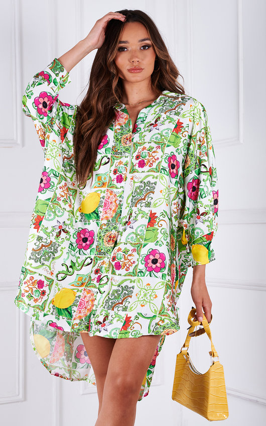 Izzy Button Up Oversized Floral Printed Shirt Dress