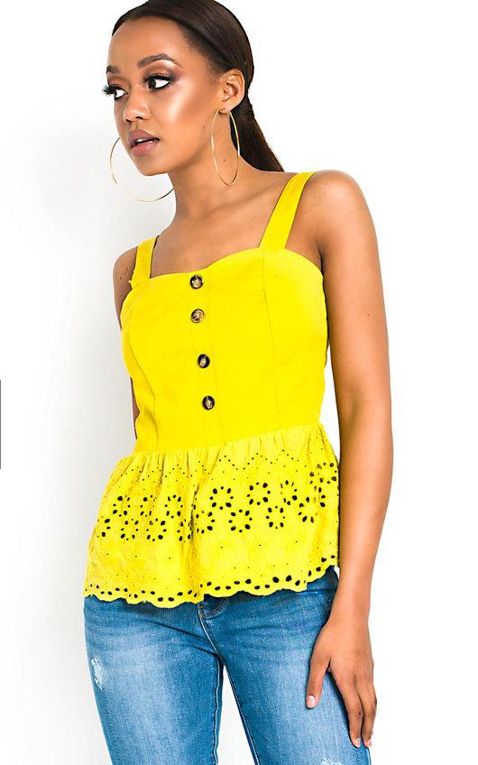 Jackie Crochet Peplum Top