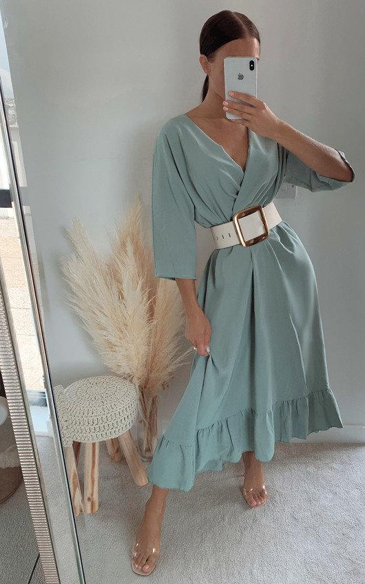 Jade Wrap Frill Midi Dress