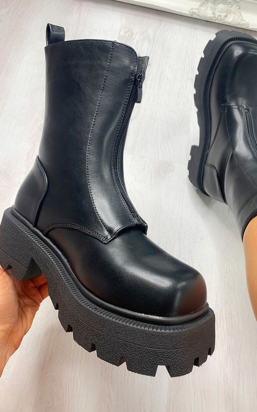 Jade Zip Up Mega Chunky Boots