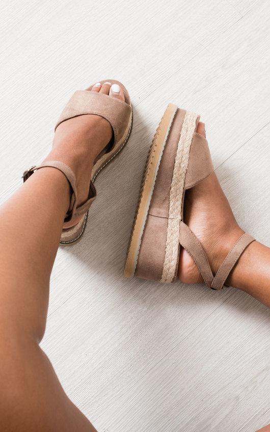 Jamie Faux Suede Flatform Sandals