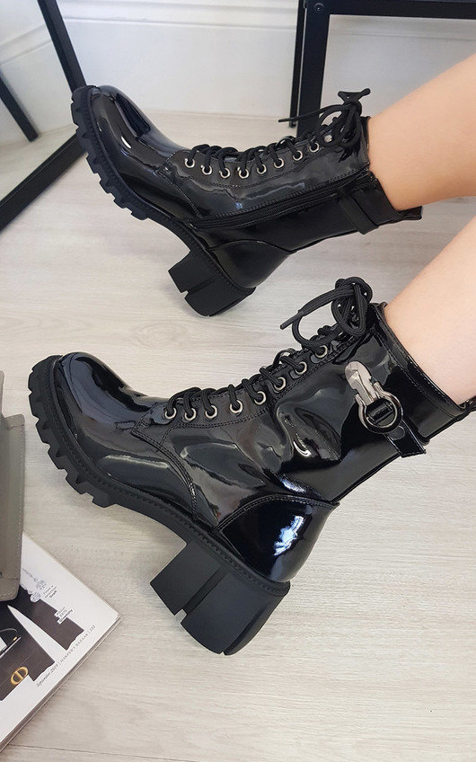 Jamie Lace Up Chunky Ankle Boots