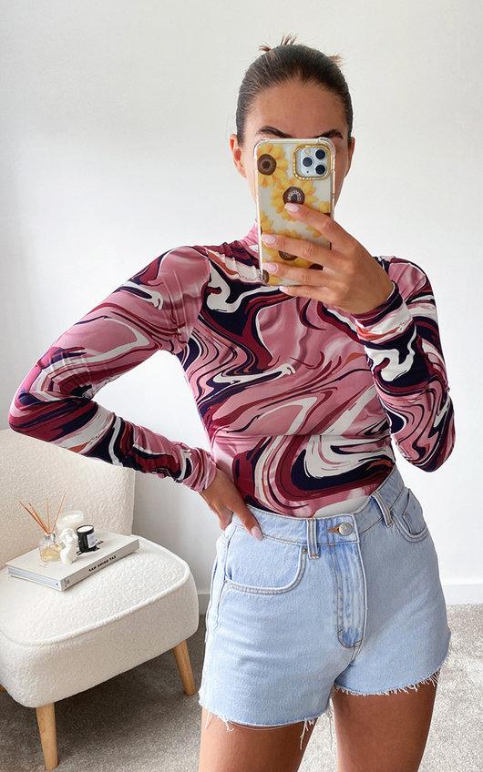 Jamilla High Neck Long Sleeve Printed Bodysuit