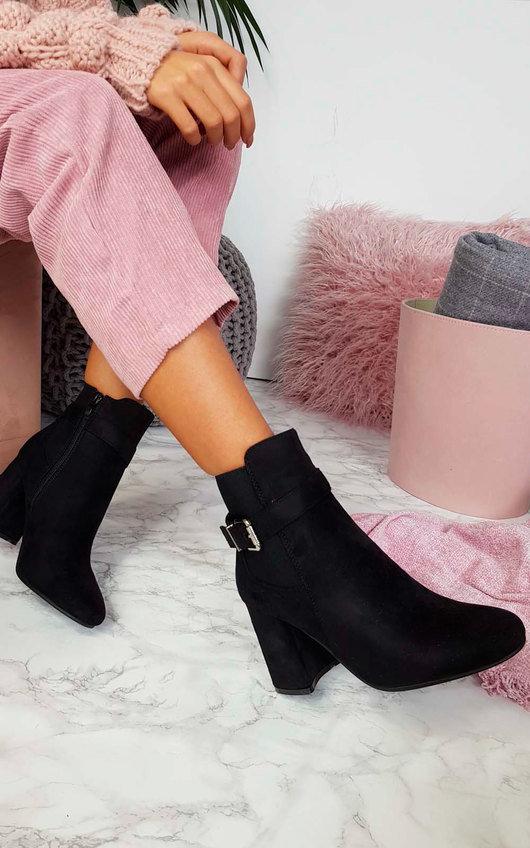 Jane Buckle Block Heel Ankle Boots