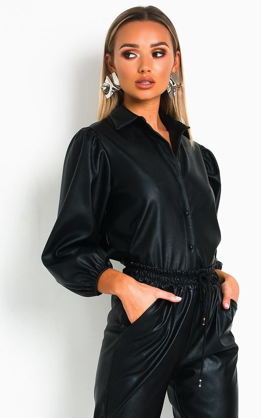 Jasmen Faux Leather Button Up Top