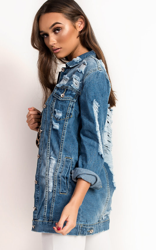 b2f22e18d870 Jasmin Distressed Oversized Denim Jacket in Denim | ikrush