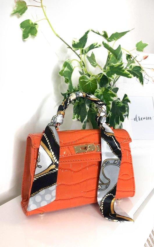 Jasmina Croc Print Handbag