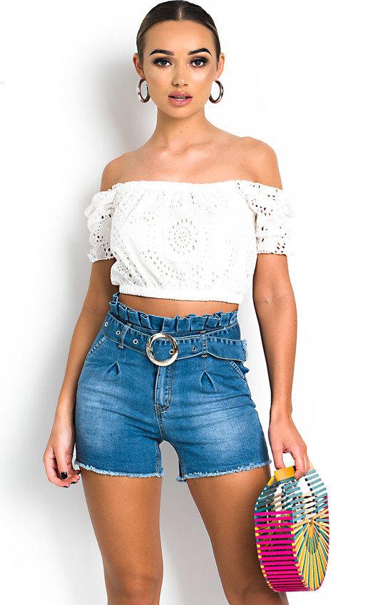 Jasmine Crochet Off Shoulder Crop Top