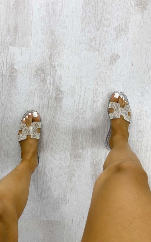 Jasmine Diamante Slip On Sandals