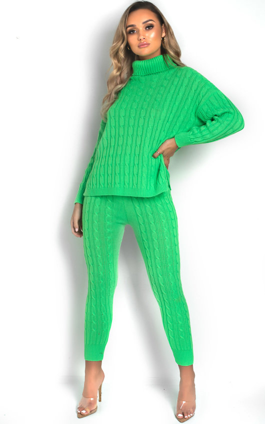 Jaz Cable Knit Polo Neck Lounge Co-ord