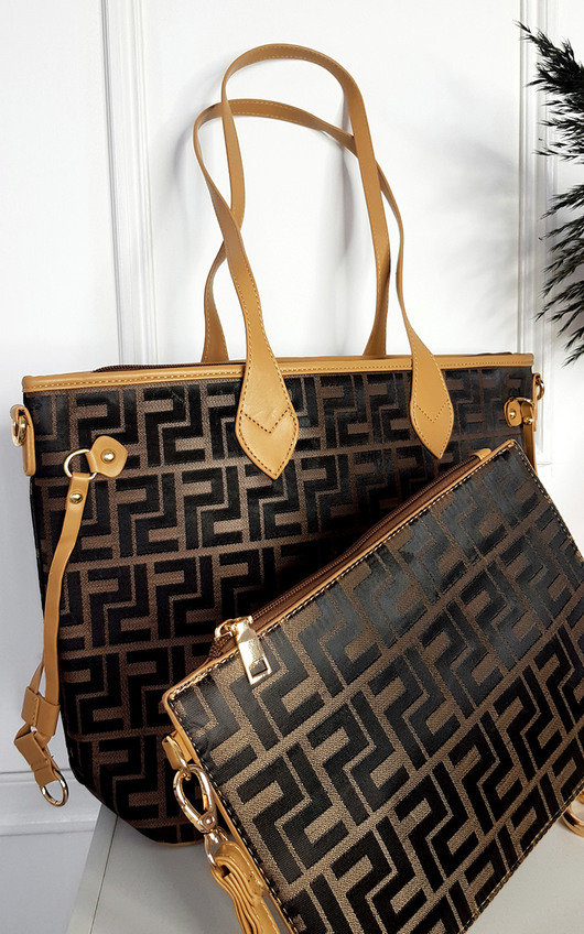 Jemma Faux Leather Shoulder Bag with Print Design