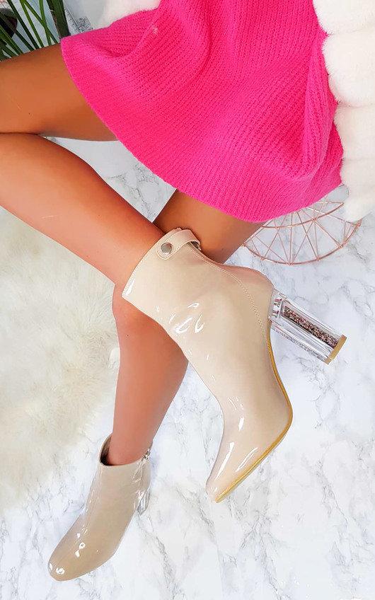 Jemma Glitter Block Heel Ankle Boots