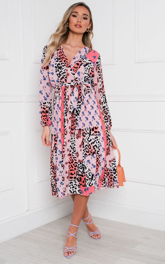 Jemma Pleated Multi Print Midi Dress