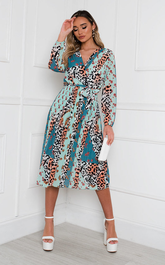 Jemma Pleated Multi Print Midi Dress