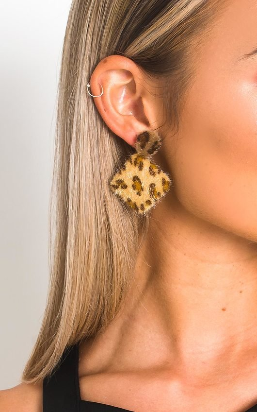 Jen Leopard Print Fuzzy Earrings