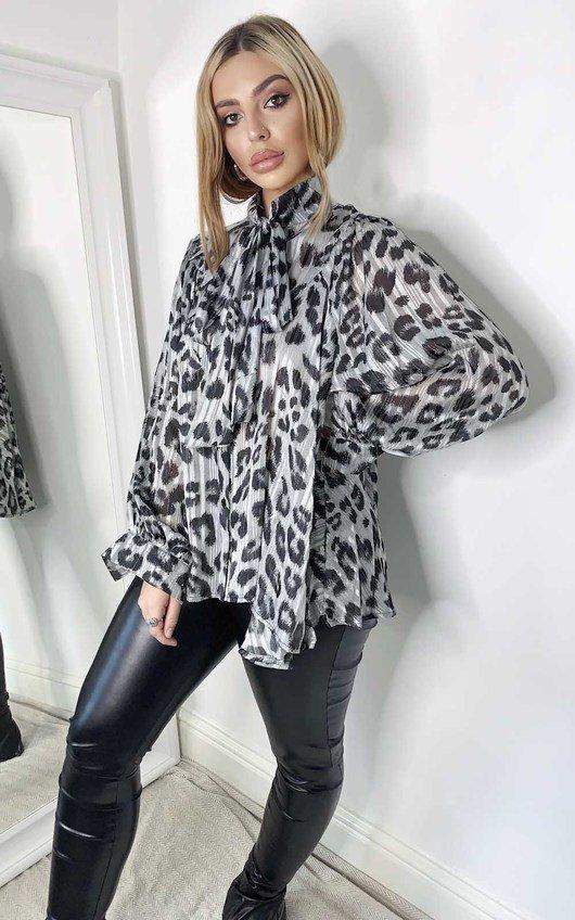 Jen Tie Front Leopard Print Blouse