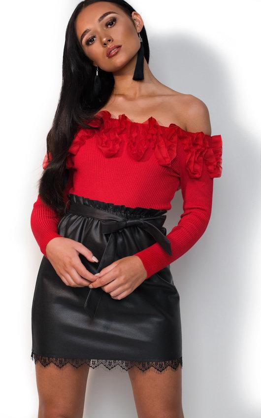 Jenna Paperbag Pleather Tie Skirt