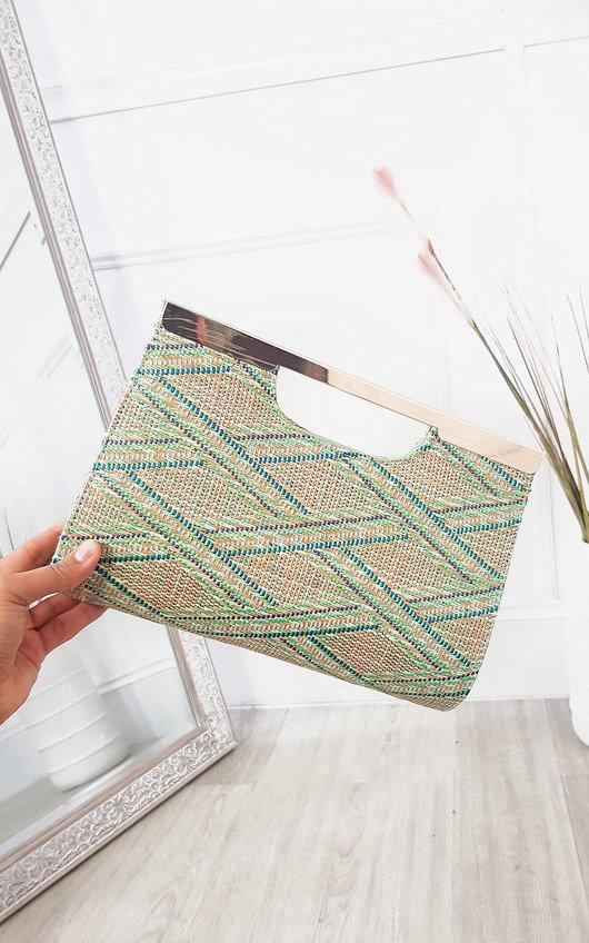 Jenni Geometric Textured Clutch Bag
