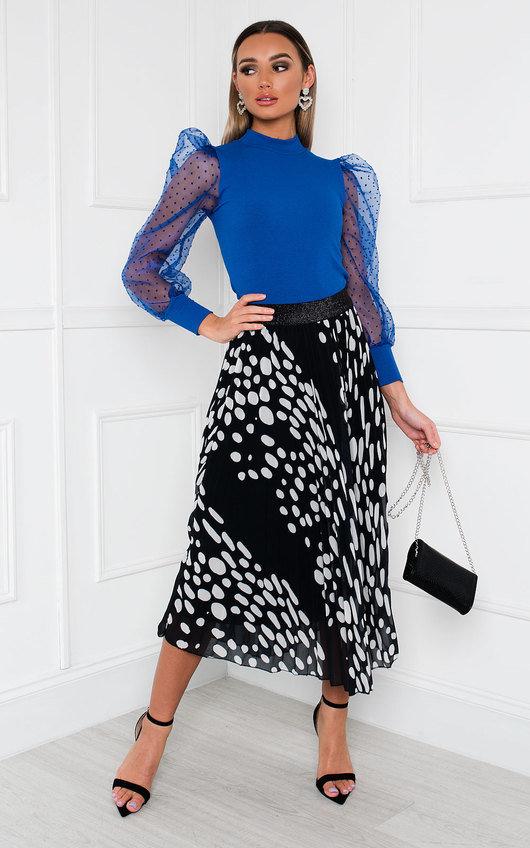 Jenni Pleated Polka Dot Midi Skirt