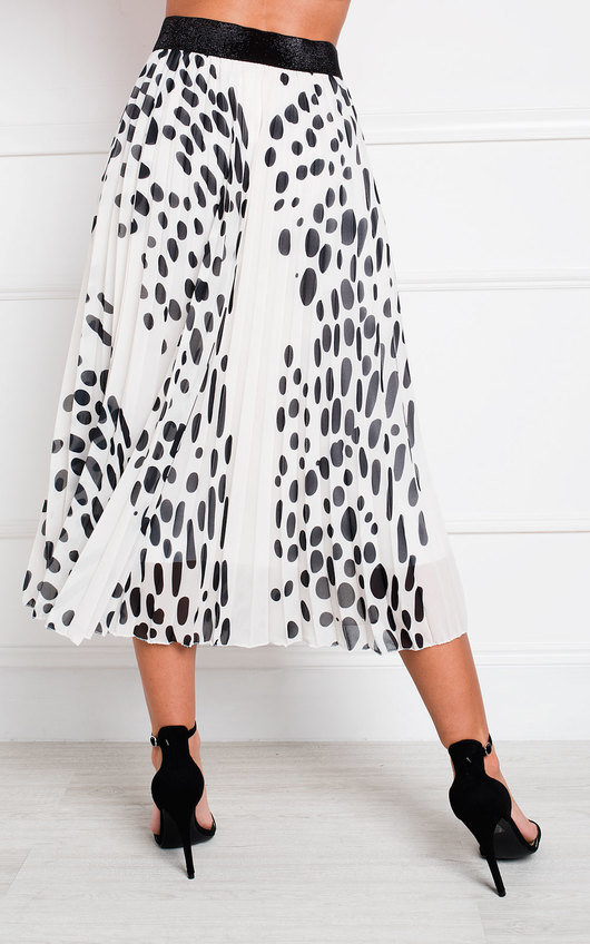 Jenni Pleated Polka Dot Midi Skirt