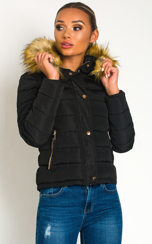 Jennifer Padded Faux Fur Hood Puffer Jacket