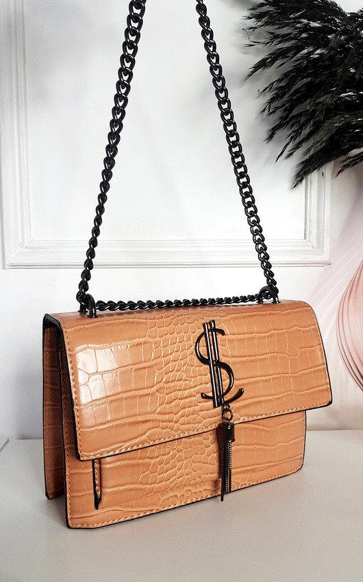 Jenny Croc Print Bag with Metal Chain Detail