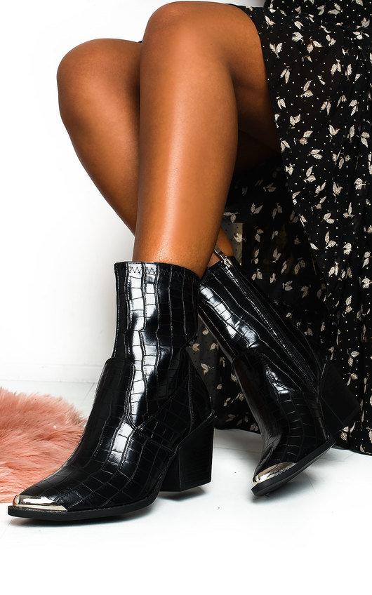 Jessi Cowboy Block Heel Ankle Boots