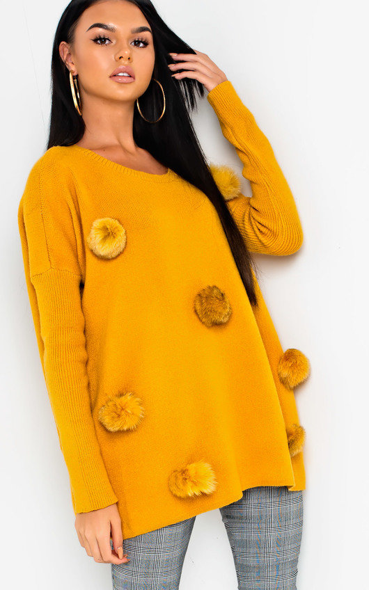 Jessie Faux Fur Pom Pom Knitted Jumper