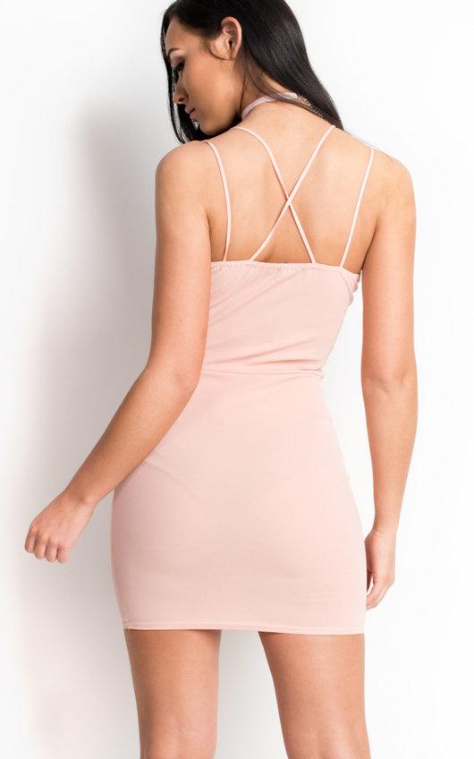 8ff90a1b0582f Jessie Strappy Bodycon Mini Dress in Nude | ikrush
