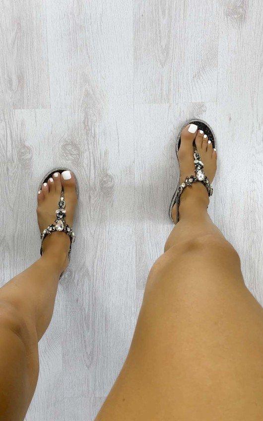 Jessy Jewelled T Bar Sandals