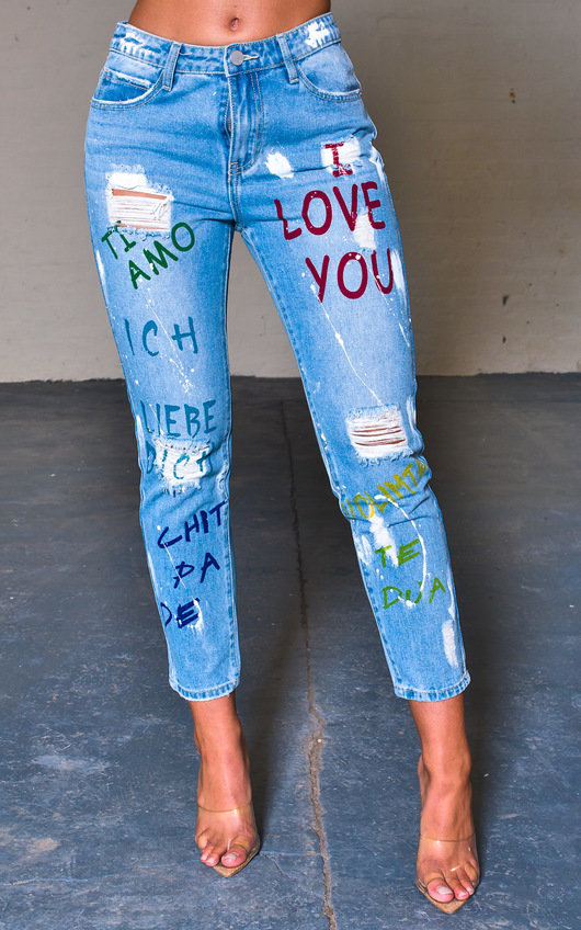 Jilli Graffiti Distressed Jeans