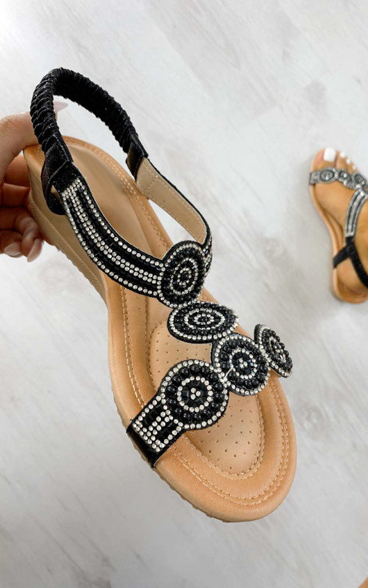 Jilly Circle Diamante Embellished Sandals