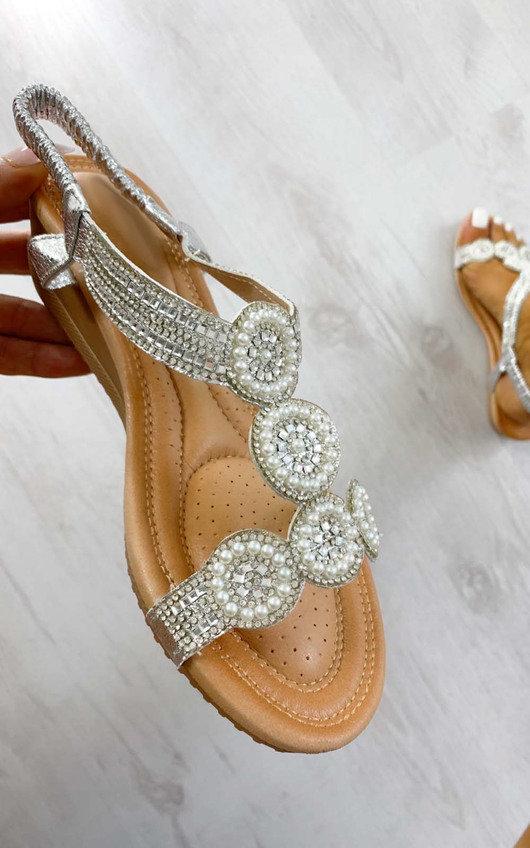 Jilly Circle Diamante Embellished Sandals