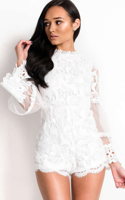 67f5d2cd88cb5 Jilly Crochet Lace Flared Playsuit in White | ikrush