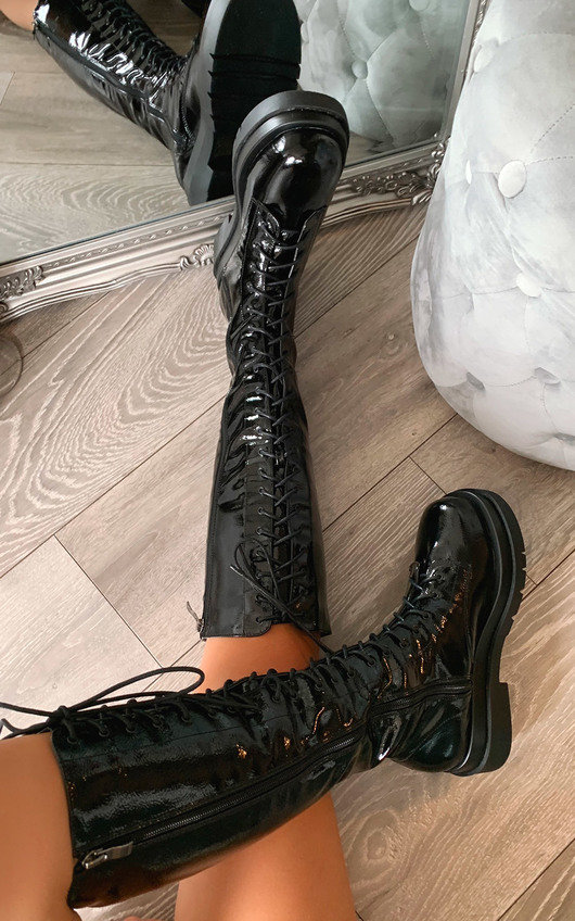 Jilly Lace Up Knee High Boots
