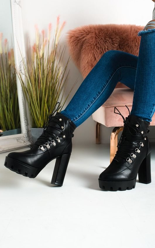 Jilly Lace Up Platform Heeled Boots