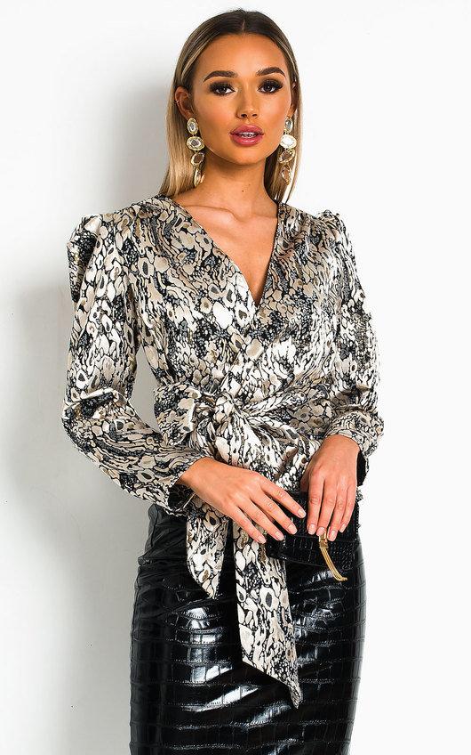 Joan Tie Front Pattern Peplum Blouse