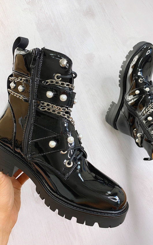 Joanna Chain & Pearl Lace Up Boots